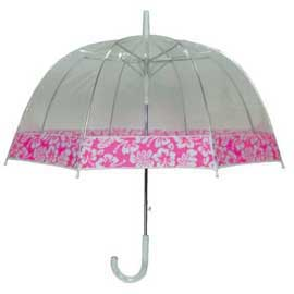 Clear View Dome Umbrella With Edge Prints